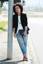 blue Mango jeans - white Zara sweater - black Mango blazer - black Mango bag