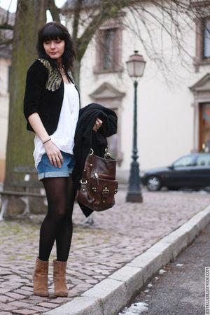 black Kate Moss for Topshop jacket - blue H&M shorts - beige ASH boots