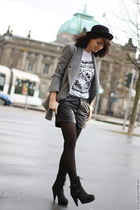 kooples boots - Urban Outfitters hat - asos blazer - asos shorts