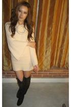 beige Bebe dress - brown Forever 21 boots
