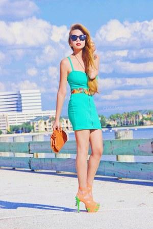 H&M dress - thrifted bag - DAS heels - thrifted belt