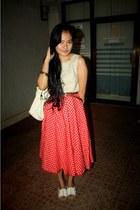 ruby red polka dots DKNY skirt - eggshell cropped Zara top