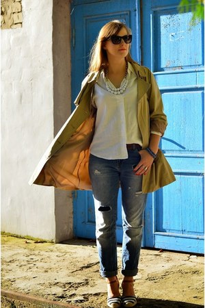 heather gray H&M bag - light brown Cubus coat - navy Stradivarius jeans