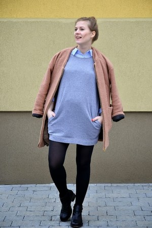 black asos boots - heather gray New Yorker dress - coral PERSUNMALL coat