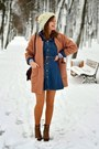 Navy-persunmall-dress-coral-persunmall-coat-dark-brown-new-yorker-bag