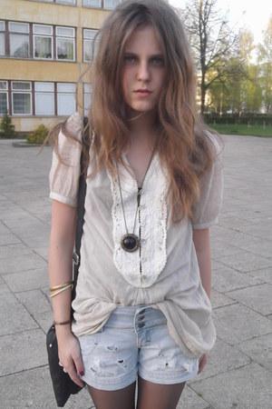 Topshop blouse - Hm bag - DIY shorts - vintage necklace