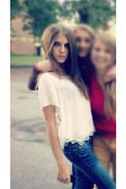 GINA TRICOT blouse - skinny jeans Bik Bok jeans