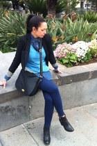 Zara blazer - H&M boots - pull&bear shirt - H&M bag - Zara pants