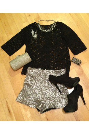 lace top Primark top - new look shoes - sequin clutch Pulse Accessories bag
