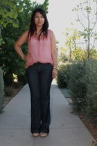 pink blouse - navy jeans - light pink wedges