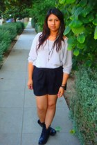black shorts - black boots - beige blouse