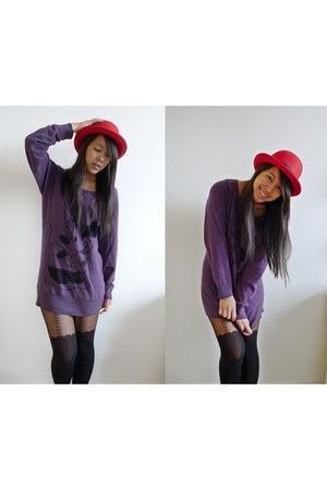 red bowler hat hat - minnie mouse H&amp;M sweater - bow suspender Pamela Mann tights