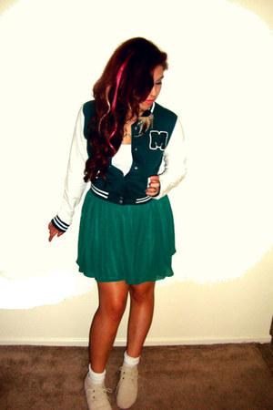 teal jacket - turquoise blue skirt