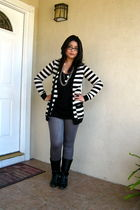 black Forever 21 shirt - white BDG cardigan - silver Forever 21 leggings - black