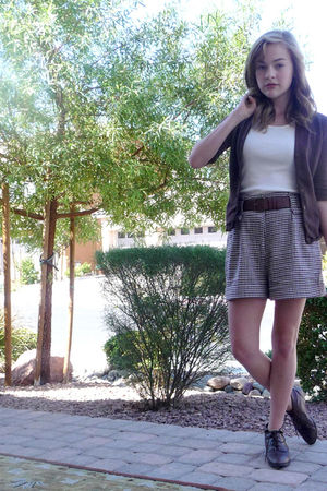 brown Forever 21 shorts - brown Thrift Store boots - brown dont remember cardiga