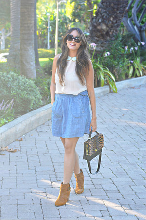 Zara top - Lucky Brand boots - JCrew bag - house of harlow sunglasses