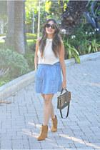 Zara top - Lucky Brand boots - JCrew bag - house of harlow sunglasses