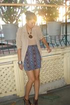 random brand blazer - The XY Shop blouse - thepurpleskirtmultiplycom skirt - Peo