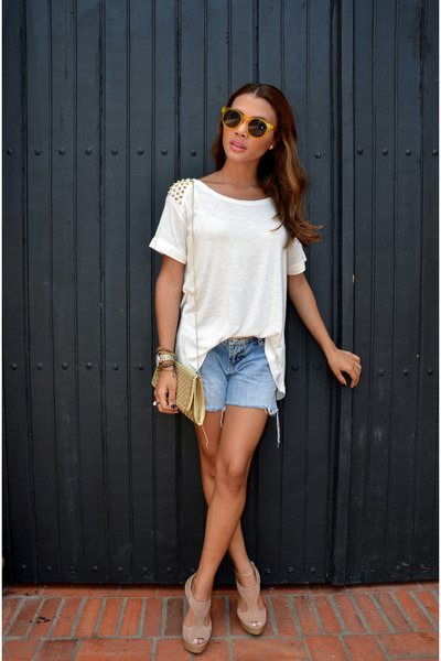 white cotton spikes Zara blouse - sky blue denim shorts pants