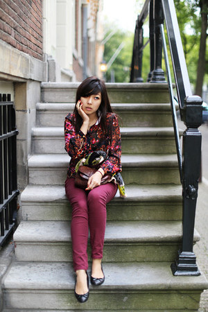 leather Zara shoes - burgundy H&M pants - fluoro knit Topshop jumper