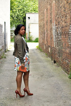 Gap dress - olive green Forever 21 jacket - coral Forever 21 purse