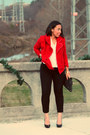 Red-eshakti-jacket-black-asos-purse-ivory-old-navy-blouse-black-aldo-pumps