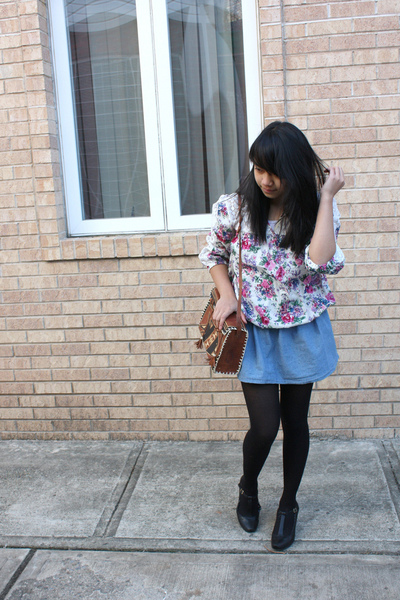 white Charlotte Russe blouse - blue Forever 21 skirt - black tights - brown
