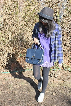 purple dress - blue Forever 21 accessories - gray tights - blue Converse shoes -