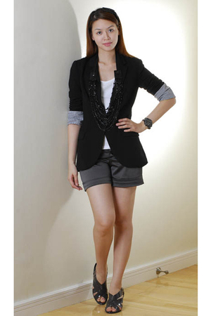 black Zara blazer - white Old Navy US top - gray From China shorts - gray from I