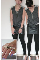 gray CHARLIE JOE top - black cotton on skirt - silver Charles and Keith shoes -