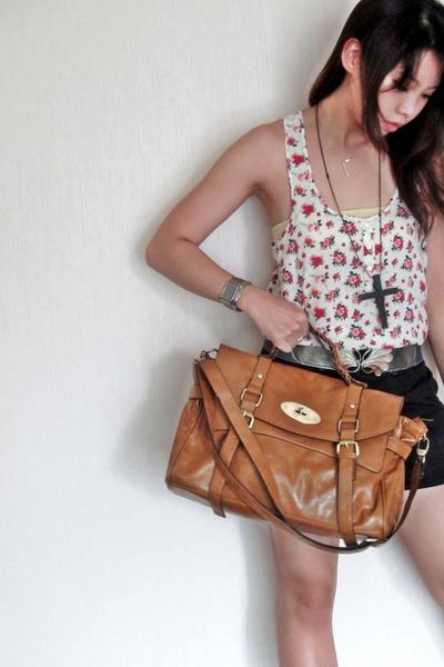 white H&M top - brown bought in china market bag - black highwaist random shorts
