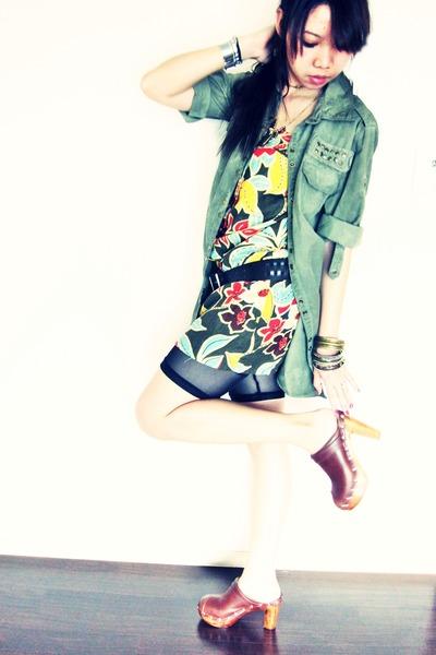 green Zara shirt - green Zara dress - black H&M shorts - brown CHINA bargain mar