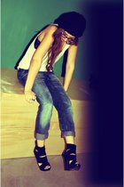 blue H&M jeans - white American Apparel top - black Aldo boots