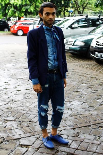 navy tailored blazer - blue classic scarf Classic Scarf scarf - blue Zara top