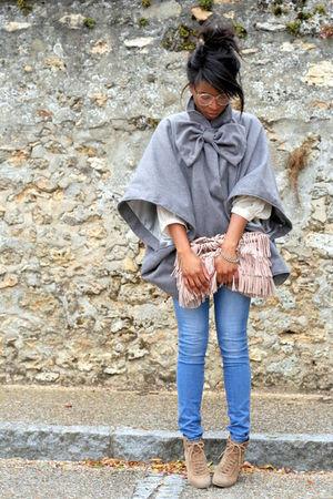 silver Violette Tannenbaum coat - H&M jeans - beige Zara shoes - pink Zara bag