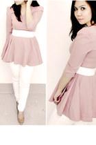white skinny Bershka jeans - light pink pink  nude Matalan pumps
