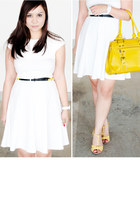 mustard faux leather SM bag - white skater Splash dress