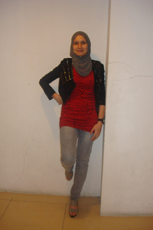 black jacket - red dress - gray Mango jeans - gray scarf - gray Charles & Keith