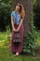 dark brown Tignanello bag - brick red maxi floral skirt - aquamarine t-shirt