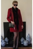 red coat - black Target scarf - shoes - black cotton on sunglasses - - black Tar