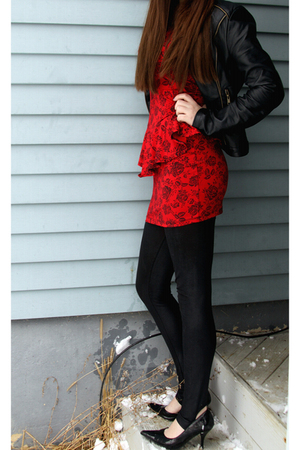 red Forever21 dress - black Forever21 jacket - black Wet Seal shoes