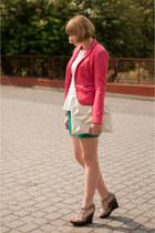 hot pink Bershka blazer - teal H&M shorts - pink by dziubeka bracelet