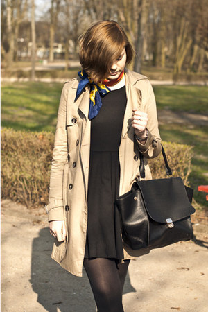 black H&M dress - tan pull&bear coat - black OASAP bag