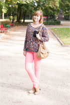 tan pull&bear boots - bubble gum Cubus pants - blue Reverse jumper