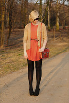 carrot orange Pull dress - tan H&M cardigan - black H&M wedges