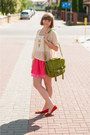 Hot-pink-h-m-shorts-cream-romwecom-jumper-red-sholove-flats