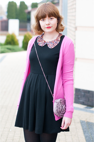 bubble gum new look bag - black H&M dress - hot pink Stradivarius cardigan
