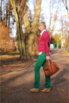 hot pink H&M jumper - green Vero Moda pants - beige sholove wedges