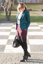 dark green new look blazer - black blink boots - maroon H&M shorts