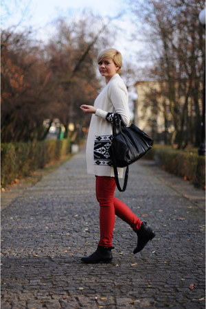 red Bershka pants - black H&amp;M boots - white H&amp;M jumper